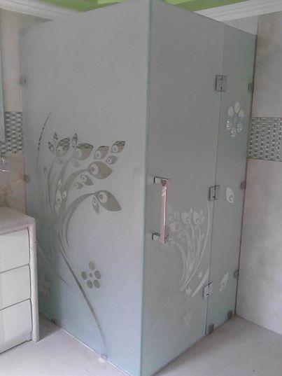 Puerta para Ducha con Diseño Arenado